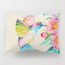 Whimsical watercolor hummingbird and  floral hand paint Pillow Sham