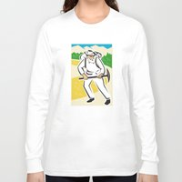 backpack Long Sleeve T-shirts featuring miner with pick ax and backpack mountains retro by retrovectors