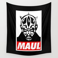obey Wall Tapestries featuring Obey Darth Maul (maul text version) - Star Wars by Yiannis