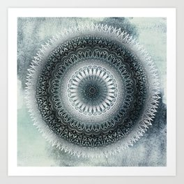 WINTER LEAVES MANDALA Art Print