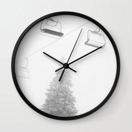 Backcountry Skier // Fresh Powder Snow Mountain Ski Landscape Black and White Photography Vibes Art Wall Clock