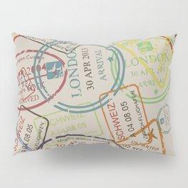 World Traveler Passport Stamp Vintage Design Pillow Sham