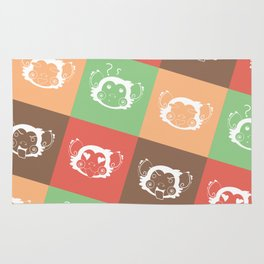 Ice Cream Color Abstract Monkey Face Blocks Rug
