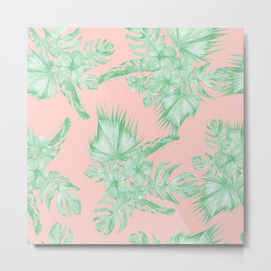 Dreaming of Hawaii Seashell Pink + Light Green Metal Print