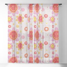 Smiling Flower Faces  Sheer Curtain