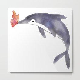 El delfín y la mariposa Metal Print