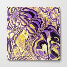 Nonbinary Pride Chaotic Jagged Pattern Swirls Metal Print