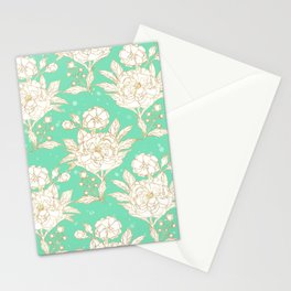 stylish golden and mint floral strokes design Stationery Cards