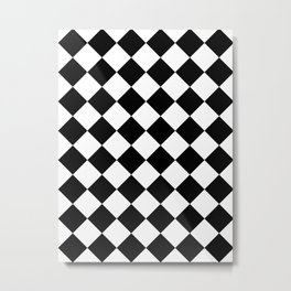 Large Diamonds - White and Black Metal Print