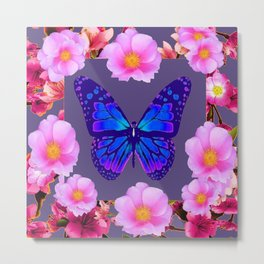 BLUE BUTTERFLY PINK ROSES GREY ART Metal Print
