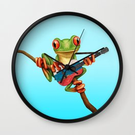 Tree Frog Playing Acoustic Guitar with Flag of Russia Wall Clock