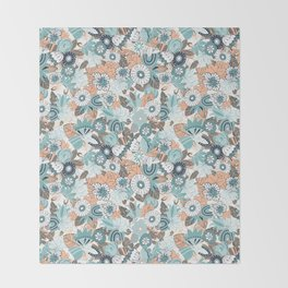 Whimsical Blue and Orange Floral Throw Blanket