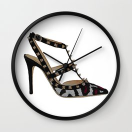 Leopard Valentino Rockstud pumps fashion illustration pink  Wall Clock