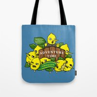 lemongrab Tote Bags featuring Lemongrab's Acceptable Lemonade  by BlacksSideshow
