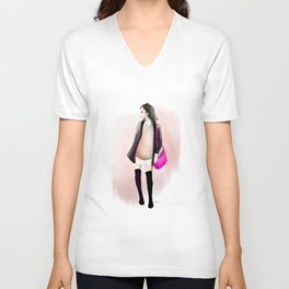 Fashion Sketch no 10 Unisex V-Neck