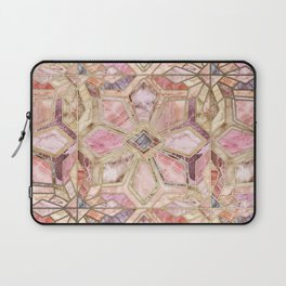 Geometric Gilded Stone Tiles in Blush Pink, Peach and Coral Laptop Sleeve