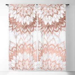 Modern chic rose gold floral mandala illustration on trendy white marble Blackout Curtain