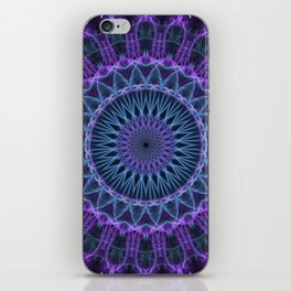 Pretty blue and plum mandala iPhone Skin
