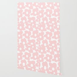 Large Baby Pink Retro Flowers on White Background #decor #society6 #buyart Wallpaper