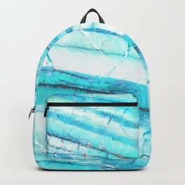 White Marble with Blue Green Veins Backpack