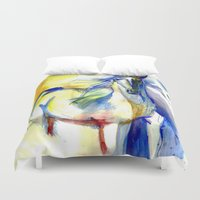 mustang Duvet Covers featuring Watercolor Mustang by Madkazer Designs