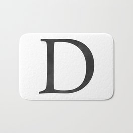 Letter D Initial Monogram Black and White Bath Mat