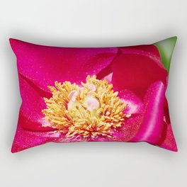 Peony Scarlet O'Hara - Red Satin with Gold Dust Rectangular Pillow