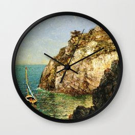 Boat Moored at Fort Wetherill, Conanicut Island, Jamestown, Rhode Island by James Gale Tyler Wall Clock
