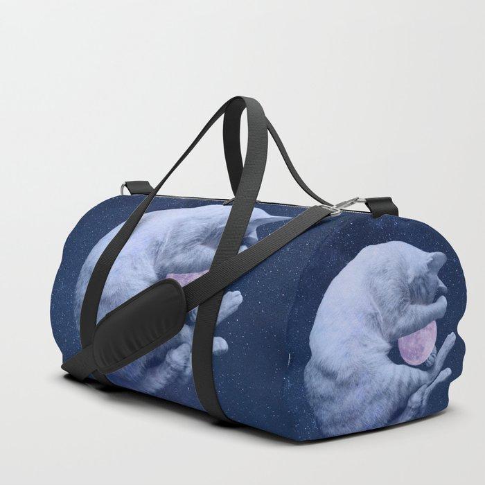 Cuddly Moon Cat Duffle Bag