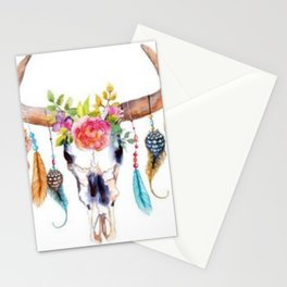 Floral and Feathers Adorned Bull Skull Stationery Cards