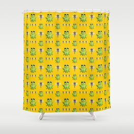 Frogs & Dragonfly Pattern Shower Curtain