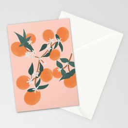 Pretty Peach Orange Blooms Stationery Cards