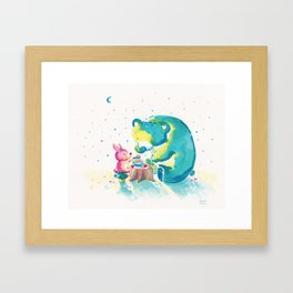 Bear with Rabbit - My Beary Berries Friend Framed Art Print