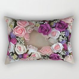 Wreath Of Pink and Purple Roses Rectangular Pillow