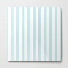 Duck Egg Pale Aqua Blue and White Wide Vertical Beach Hut Stripe Metal Print