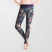wood Leggings featuring Butterflies and Hibiscus Flowers - a painted pattern by micklyn