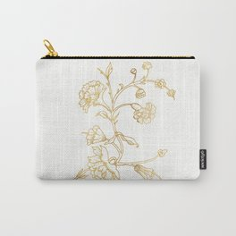 Golden Flower on White Background Carry-All Pouch