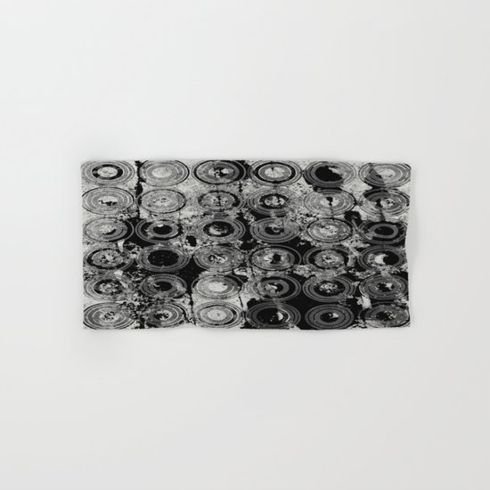 Urban Rings IV - Black and white textured abstract Hand & Bath Towel