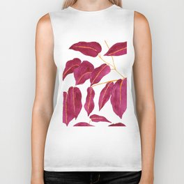 Ruby and gold leaves watercolor illustration Biker Tank
