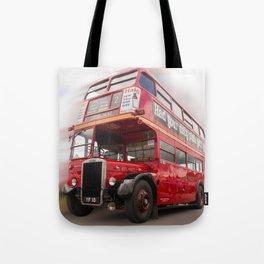 Old Red London Bus Vintage transport Tote Bag