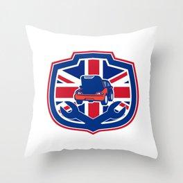 British Auto Repair Shop Union Jack Flag Crest Throw Pillow
