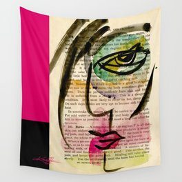 """Funky Face Abstract, """"I See 24"""" by Kathy Morton Stanion Wall Tapestry"""
