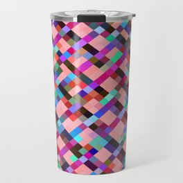 geometric pixel square pattern abstract background in pink purple blue yellow green Travel Mug