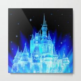 Blue Ice Frozen Enchanted Castle Metal Print