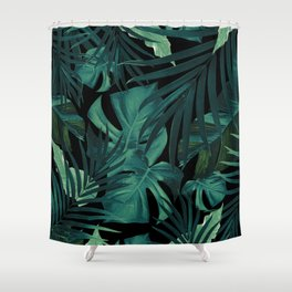Tropical Jungle Night Leaves Pattern #1 #tropical #decor #art #society6 Shower Curtain