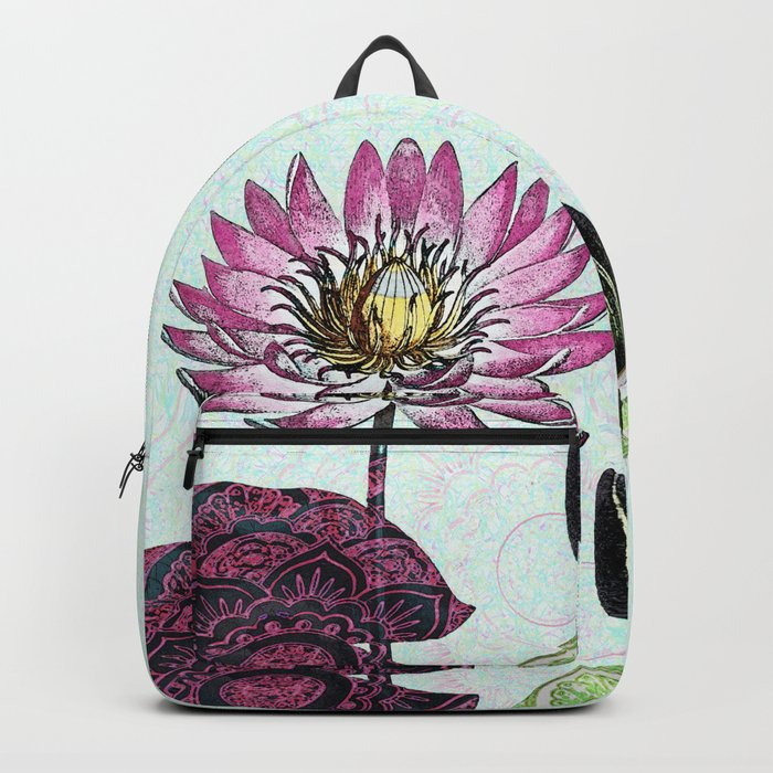 Bowing to the divine in pink Backpack