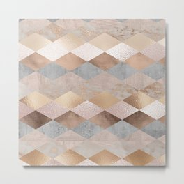 Copper and Blush Rose Gold Marble Argyle Metal Print