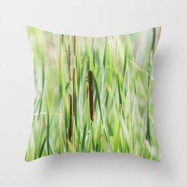 Cattails - Nature Photography Throw Pillow