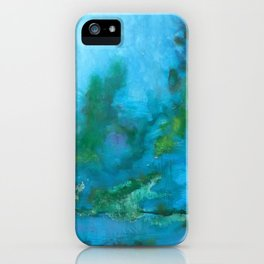 Light Blue Monet´s Theme of Waterlilies iPhone Case