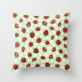 Sweet Strawberries - light green Throw Pillow
